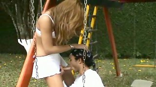 Raunchy shemale has got hard surprise under her skirt for a guy to suck on