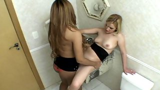 Sultry shemale satisfying her fiery desire while ramming babe�s twat in WC