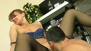 Horny mature gal in sexy lingerie teasing hung guy up to steamy intercourse