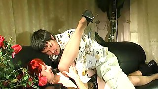 Fiery mom spreading her stockinged legs luring a guy to give her hard doggy