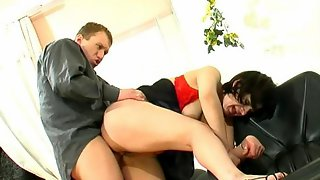 Business meeting with horny mature gal and young co-worker starving for sex