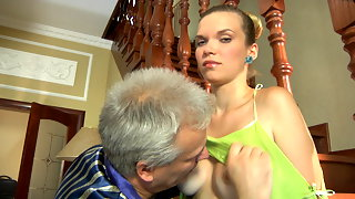 Nubile next-door girl sweet talked into a steamy quickie by a lusty old man