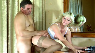 Old gent and a cute lass exchange oral job before going for wild screwing