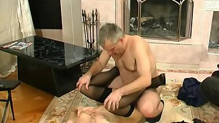 Stunning gal with burning pussy seducing her older worker into wild fucking