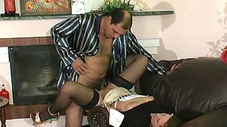 Older male giving sex toy to his young French maid to do her fucking duties