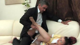 Hungry for a girlish body aging male seducing French maid into hard fucking