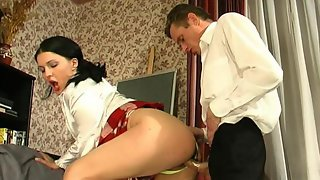 Leggy brunette gets a part-time job as a fuck toy of her lusty old master