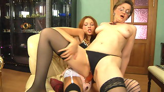 Eager for action gal ready to inspect a mature pussy with her huge strap-on