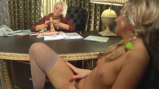 Naughty sec ready for additional strap-on work fucking her mature lady-boss