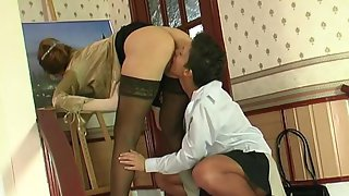Curious babe spying upon mature chick aching for frantic lick-a-clit action