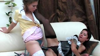 Sizzling hot French maids preferring strap-on fucking to their usual chores