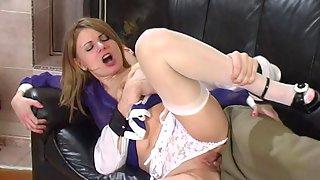 Elegant white-stockinged babe getting to drunk nylon sex with her boyfriend