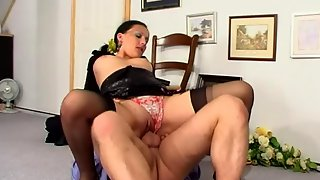 Filthy security taking a cock-break with a lusty brunette in black nylons