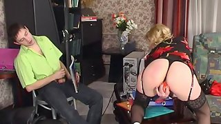Awesome gal in fancy stockings diddling her pussy in front of her boyfriend