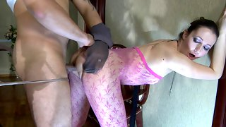 Topless babe changing into pink fashion tights for a fuck in pantyhose maze