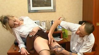Getting Silky Pantyhose Pushed 2