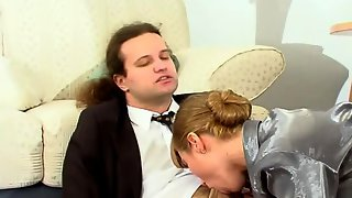 Well-hung boss lured by his sec into frenzied pantyhose suck-n-fuck action