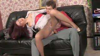 Leggy maid in sleek and smooth tights seduced and banged by a kinky master