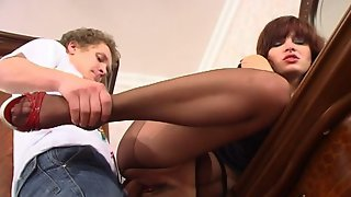 Naughty chick getting her twat pounded through her tan control top tights