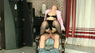 Sizzling hot mature chick smacking guy's ass before jumping on rocky pole