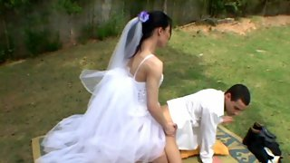 Wedding ceremony with shemale bride results in sore ass of her nasty fiancé