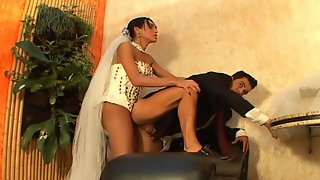 Shemale bride pumping the ass of her fiancé right after wedding ceremony