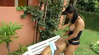 Wild doggystyle fucking with well-hung shemale and her luscious girlfriend
