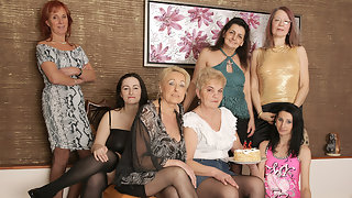 Three old and young lesbians go nuts at a party