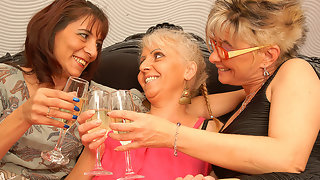 Three mature lesbians having sex