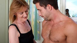 Horny mature mama fucking the dude next door