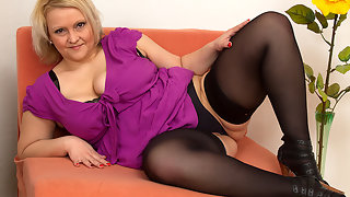 Big breasted housewife getting naughty and frisky