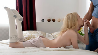 Stunning blonde amateur deep doggy-style fuck
