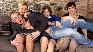 One lucky dude having sex with three naughty housewives