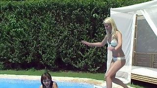 Lesbian fun at the pool