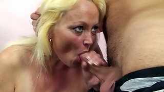 Granny eats dick and gets fucked