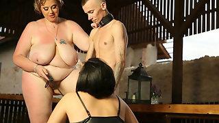 Femdom threesome with a skinny sub
