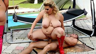Poolside BBW femdom threesome