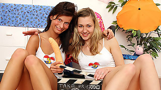 Two teens and a dildo