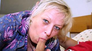 Fat granny devours hard cock