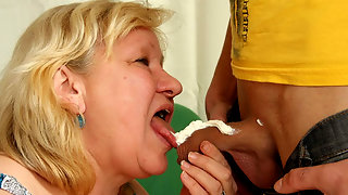 Granny licking whipped cream from cock