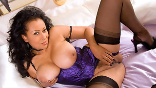 Big Tittied Mature Stroking Her Pussy