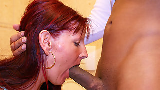 Deep throat cock sucking on a public toilet