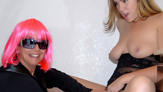 Kinky old lesbian having fun with a horny teen