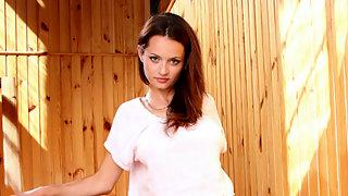 Leggy brunette Nubile Vally
